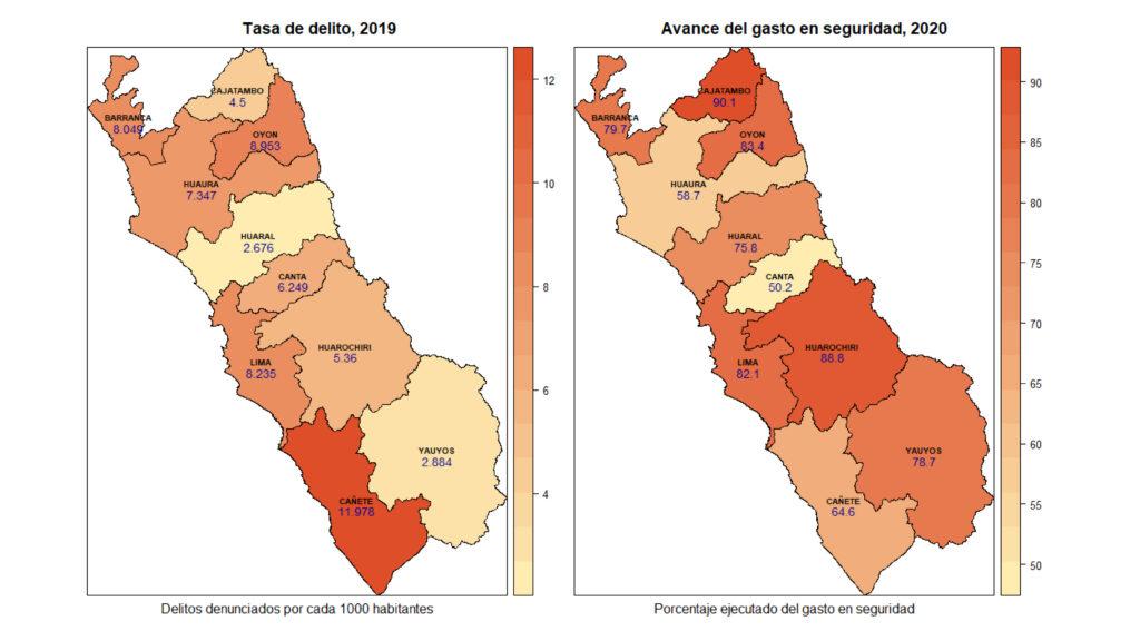 tasa de delito, avance de gasto en seguridad, región Lima